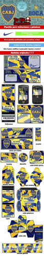 kit imprimible boca juniors tarjetas candy bar invitaciones