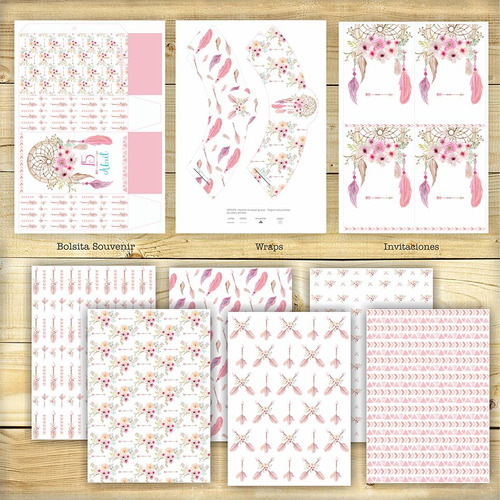 kit imprimible boho plumas flores