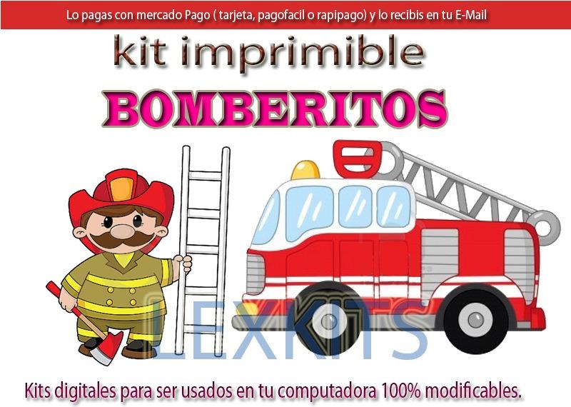 Kit Imprimible Bomberos Bomberitos Candy Bar Tarjetas Cumple - $ 97 ...