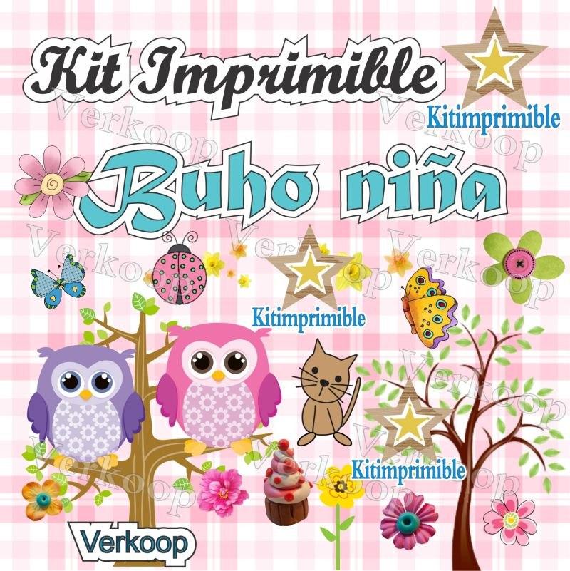 kit imprimible buho niña fiesta d bebes para nenas candy bar