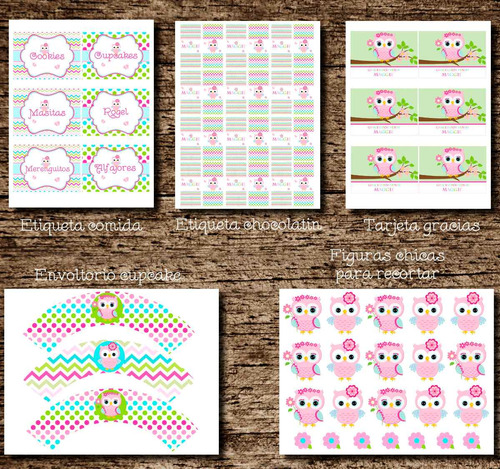 kit imprimible buho rosa - cumpleaños buho