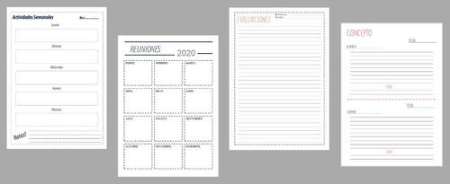 kit imprimible bullet planificadores docentes agendas 2020