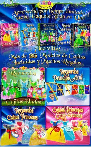 kit imprimible cajitas de princesas hadas y principes 5x1