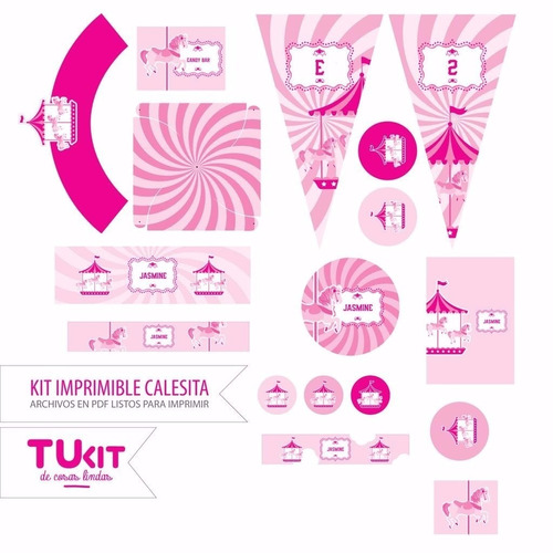 kit imprimible calesita rosa carrusel candy bar invitaciones