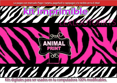 kit imprimible candy animal print zebra ideal 15 años