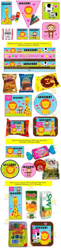 kit imprimible candy animalitos de la selva nena golosinas