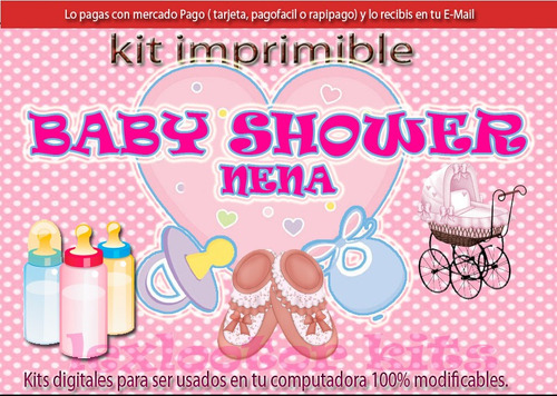 kit imprimible candy bar baby shower nenas juegos cotillón