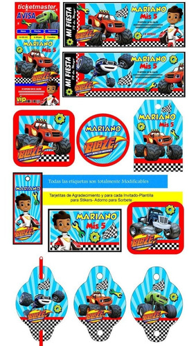 kit imprimible candy bar blaze and the monster machines