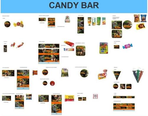 kit imprimible candy bar caminando con dinosaurio fiesta 3x1