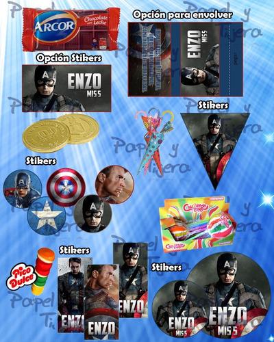 kit imprimible candy bar capitan america marvel