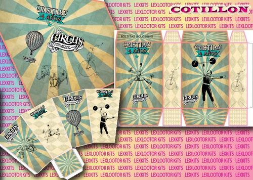kit imprimible candy bar circo vintage vintage circus