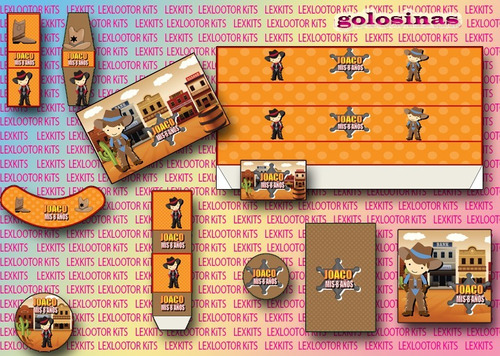 kit imprimible candy bar cowboys nenes sherif vaqueros oeste