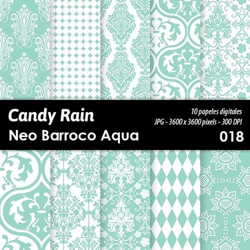 kit imprimible candy bar fondo diseño neo barroco acqua x 10
