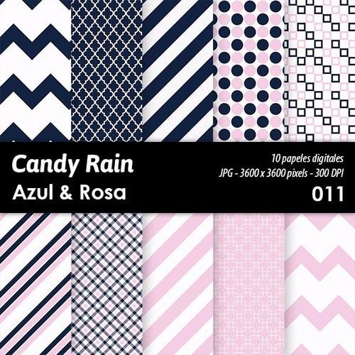 kit imprimible candy bar fondos diseños azul & rosa x 10