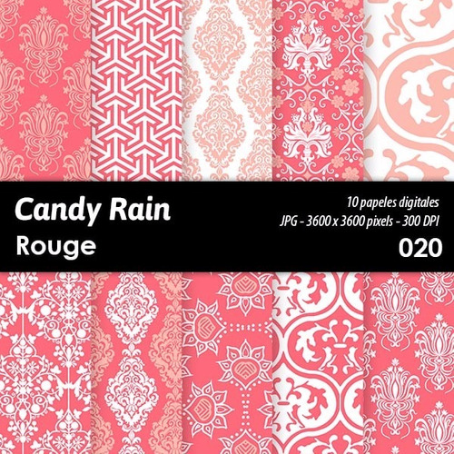 kit imprimible candy bar fondos diseños rouge x 10