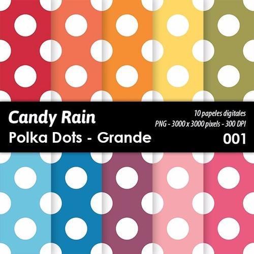 kit imprimible candy bar fondos polka dots grande x 10