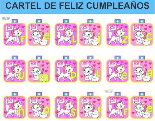 kit imprimible candy bar gatita marie fiesta 3x1