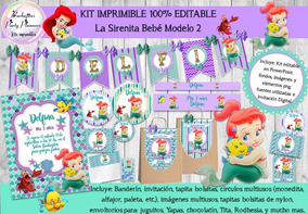 Kit Imprimible Candy Bar La Sirenita Bebe 2 100 Editable