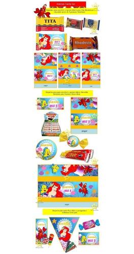 kit imprimible candy bar la sirenita princesa ariel cod01