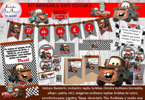 Kit Imprimible Candy Bar Mate Pelicula Cars 100% Editable