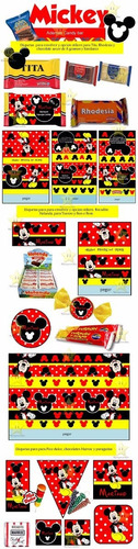 kit imprimible candy bar mickey negro y rojo golosinas cod02