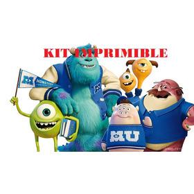 Kit Imprimible Candy Bar Monsters University Fiestas Cumples