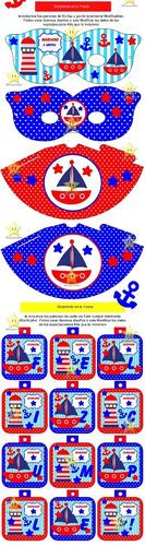 kit imprimible candy bar nautico marinero nene golosinas