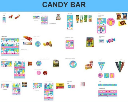 kit imprimible candy bar ositos cariñosos full fiesta 3x1