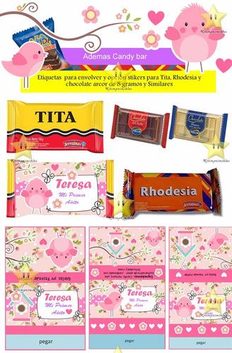 kit imprimible candy bar pajaritos nena golosinas y mas