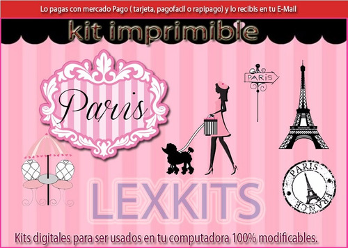 kit imprimible candy bar paris parisino