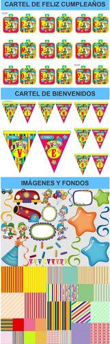 kit imprimible candy bar payasitos de circo fiesta 3x1
