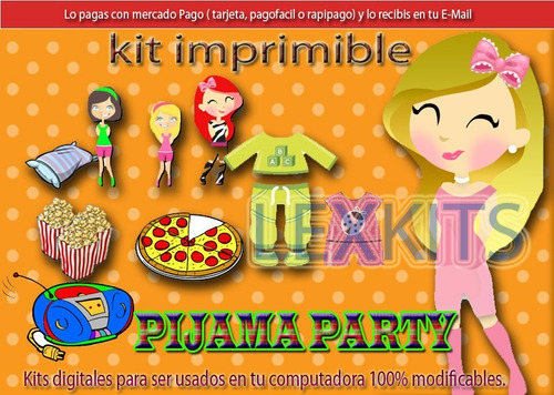 kit imprimible candy bar pijama party   pijamada tarjetas