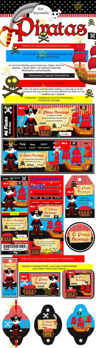 kit imprimible candy bar piratas golosinas cumples y mas