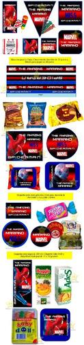 kit imprimible candy bar spiderman hombre araña cumple cod01