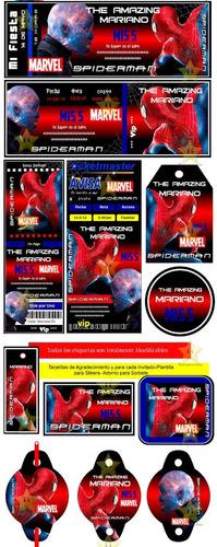 kit imprimible candy bar spiderman hombre araña cumples ymas