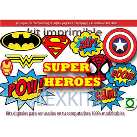 Kit Imprimible Candy Bar Super Heroes Comic Historieta
