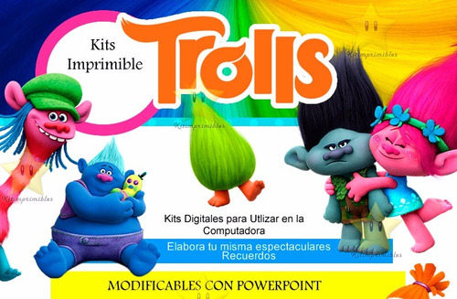kit imprimible candy bar trolls tarjetas cotillon fiesta