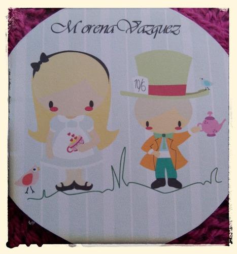 kit imprimible candybar alicia invitaciones cupcakes