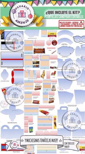 kit imprimible  candybar cumpleaños fiestas 1000 kits en 1