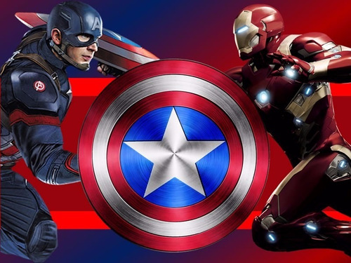 kit imprimible capitan america vs iron man civil war 2x1