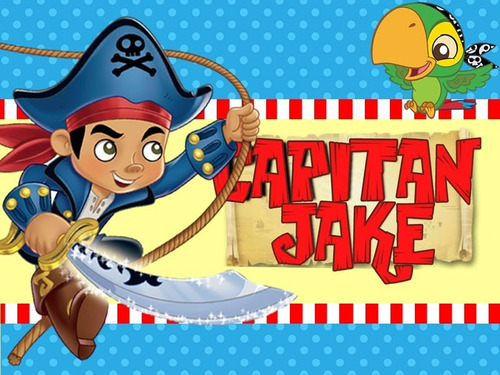 kit imprimible capitan jake y los piratas diseña tarjeta 2x1
