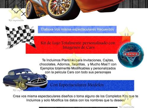 kit imprimible cars 2 invitaciones editables tarjeta y mas