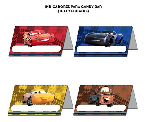 kit imprimible cars 3 candy bar deco banderín invitaciones
