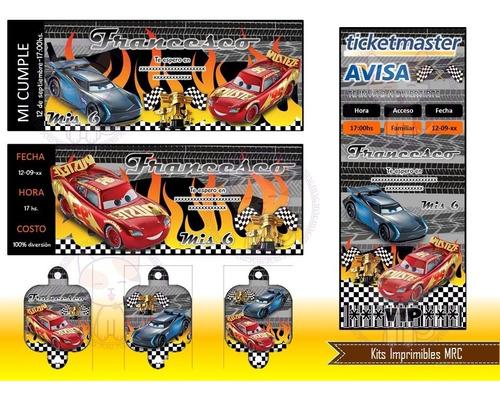 kit imprimible cars 3  candybar envio inmediato +2x1
