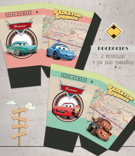 kit imprimible cars radiator springs deco + invitaciones