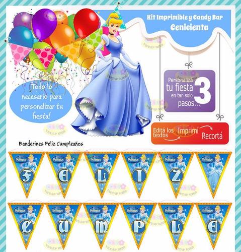 kit imprimible cenicienta princesa invitaciones candy deco