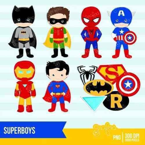 kit imprimible chicos superheroes 11 imagenes clipart