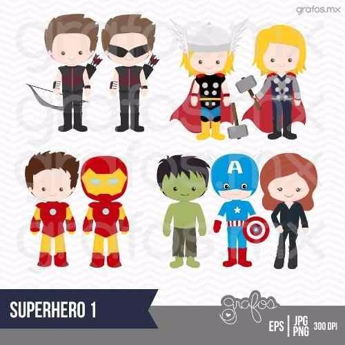 kit imprimible chicos superheroes 14 imagenes clipart