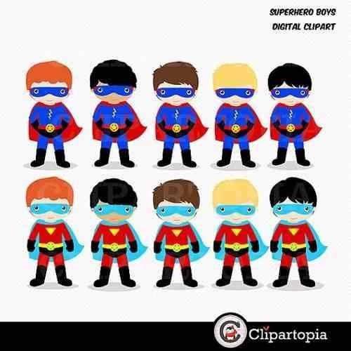 kit imprimible chicos superheroes imagenes clipart