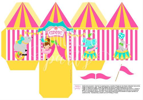 kit imprimible circo nenas decoracion 1 año editable